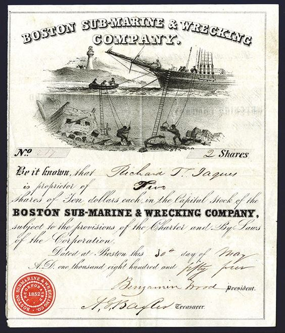 Boston Sub-Marine & Wrecking Company, 1854 Issued Stock Certificate with Under Sea Divers