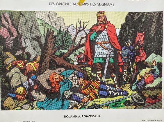 """Manuels anciens: Affiche histoire n°5 """"Roland à Roncevaux"""""""