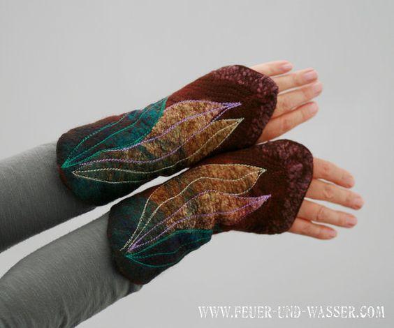 Felted Manschetten Felted Handschuhe von FeuerUndWasser auf Etsy                                                                                                                                                                                 Mehr