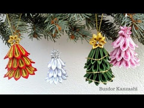Diy Kanzashi Karacsonyi Fenyo Fuggodisz How To Make Kanzashi Christmas Tree Ornaments Diy Christmas Ornaments Origami Christmas Ornament Christmas Ornaments