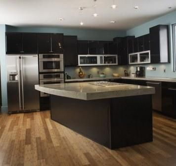 Dark Cabinets, Lighter counter tops and stainless steel appliances