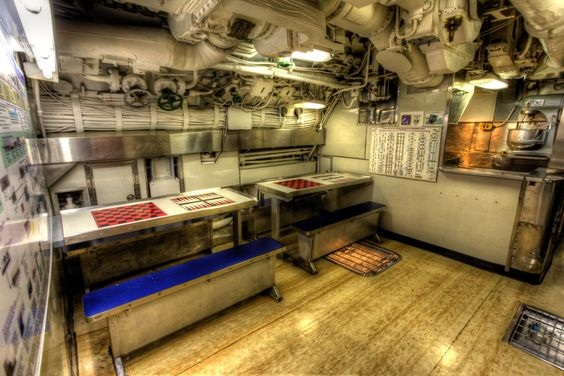 kitchen and mess hall of the submarine uss croaker at the
