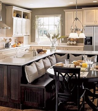 Big island with breakfast area! Like this arrangement better than typical with bar stools: