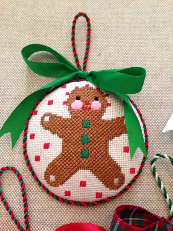 Gingerbread Man Ornament ~ canvas by Melissa Shirley