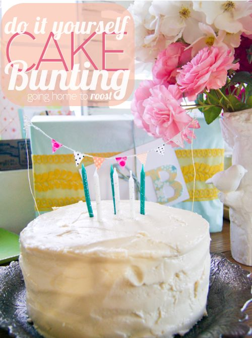 easy diy cake bunting making, it's good for the card as well.