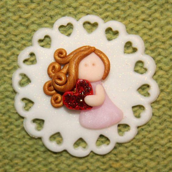 Bambina con un magnete grande cuore, carta topper polymer clay/fimo compro qualsiasi 5 ottenere 1 gratis