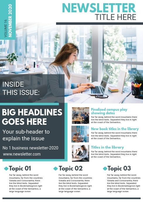 Corporate Newsletter Magazine Page Template Newsletter Design Templates Newsletter Design Layout Newsletter Templates