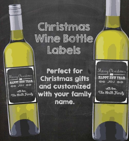 Wine Bottle Labels Christmas Chalk Digital by CuteLittleSigns