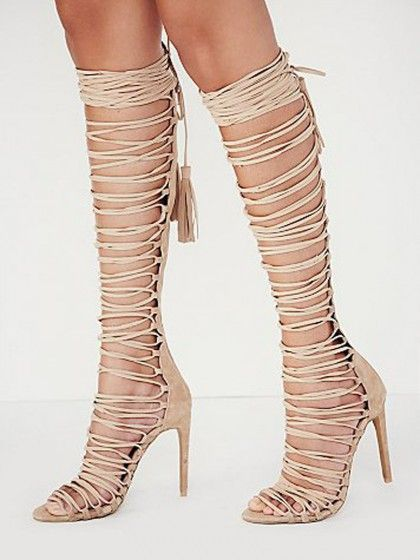 Beige Strappy Knee High Heeled Gladiator Sandals | Choies ...