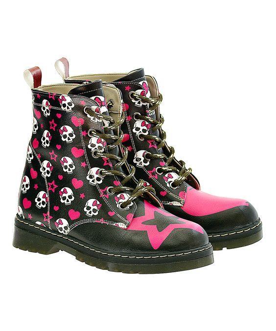Pink & Black Skull Heart Sherpa Combat Boot   Black skulls, Combat ...