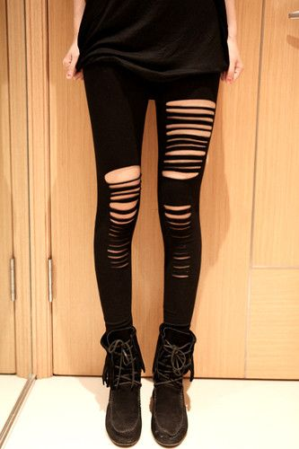 New Women Punk Rock Style Ripped Stretch Tights Pants Leggings ...
