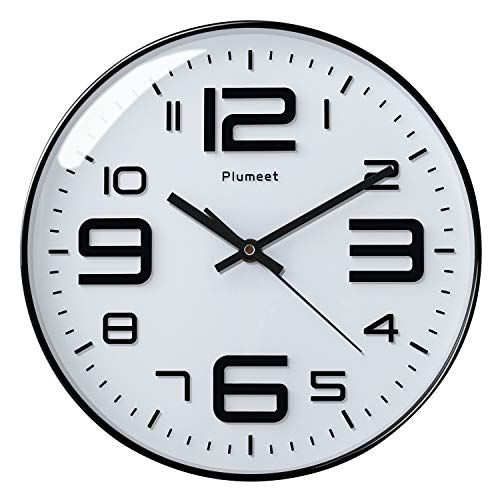 Plumeet Silent Wall Clocks 12 Non Ticking Quartz Large Decorative Clocks Big 3d Number Good For Living Room Home Office Battery Operated White Lavorist Clock Decor Wall Clock Large Wall Clock
