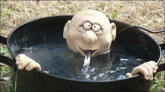 Brunnenfigur Kopf und Hände: