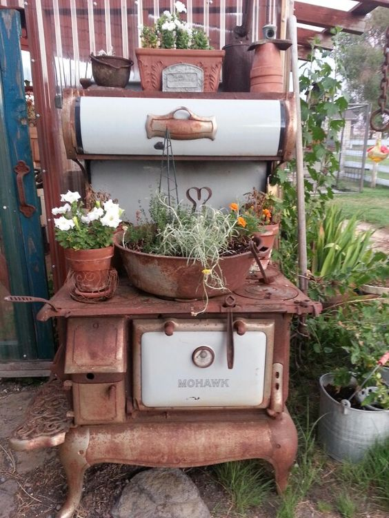 my repurposed antique wood cook stove gardening