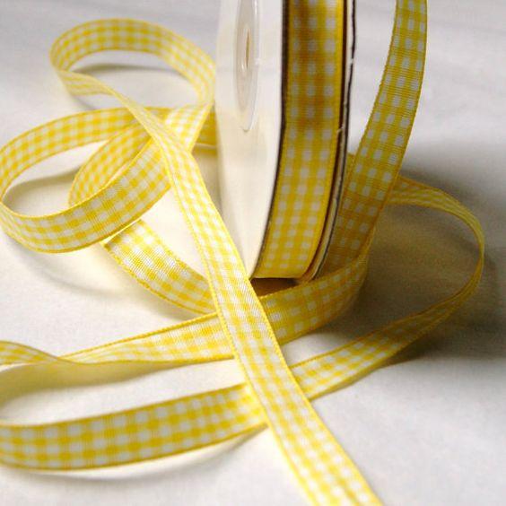 Yellow Gingham Ribbon 3/8 inch - Trim - 4 yards - Mixed Media - Scrapbook - Fun