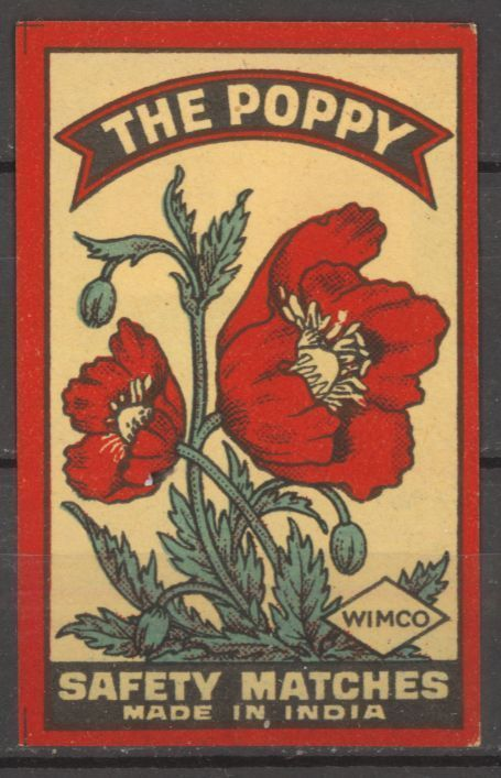 The Poppy Vintage Match Box Label INDIA Old Matchbox paper label