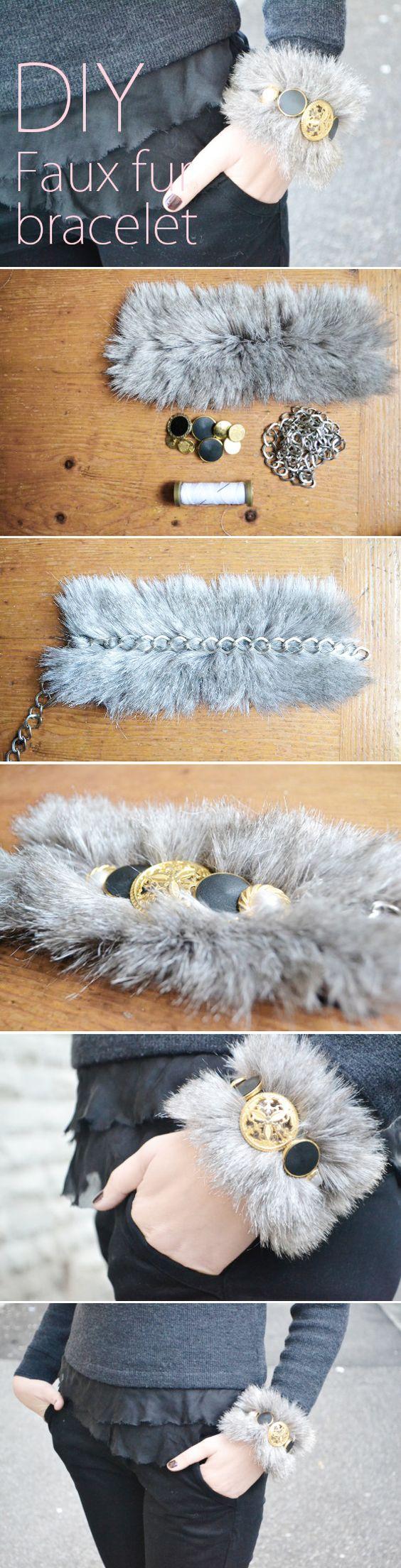 Faux fur and vintage buttons bracelet: