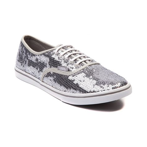 vans authentic lo pro skate shoe grey white sequin