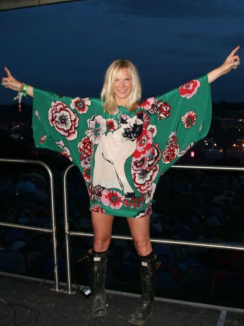 Jo Whiley's Paul and Joe kimono dress. I need this, the wellies and the hair. Feck it the legs would be ace too!