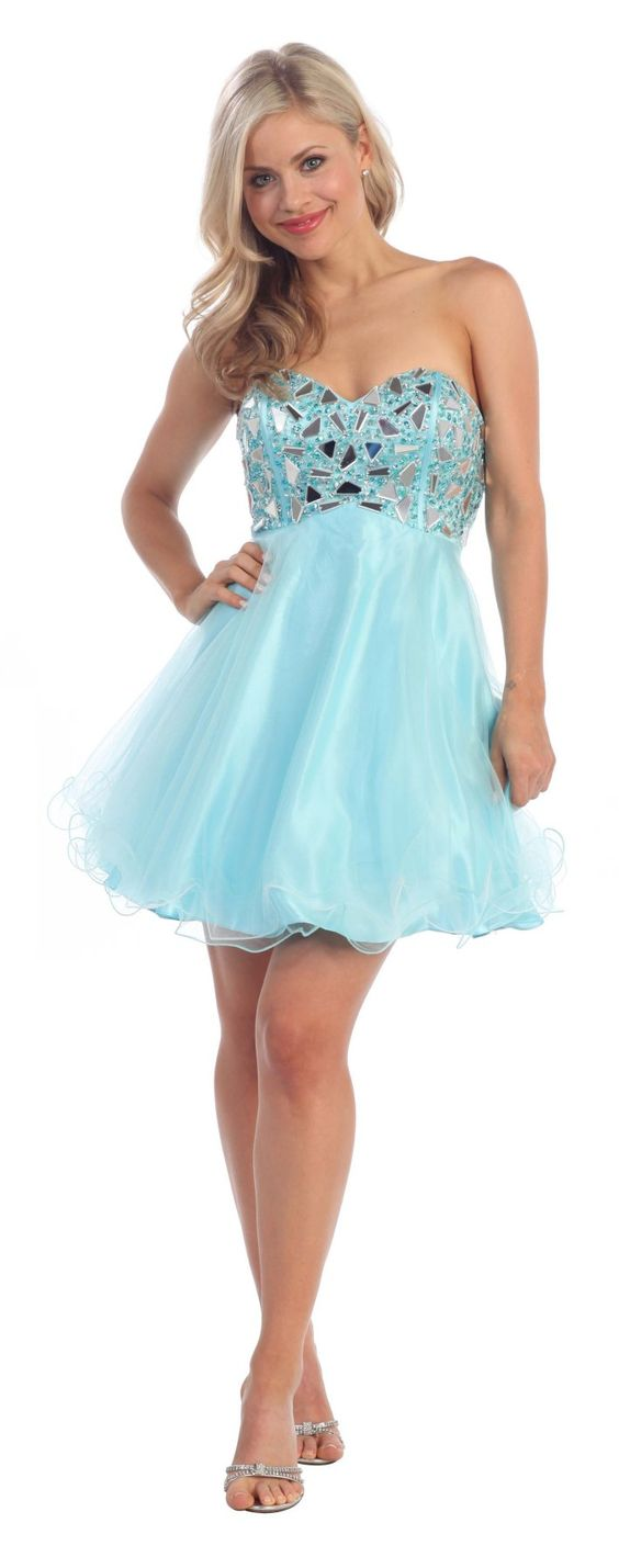 Light Turquoise Prom Dress Short A Line Empire Waist ...