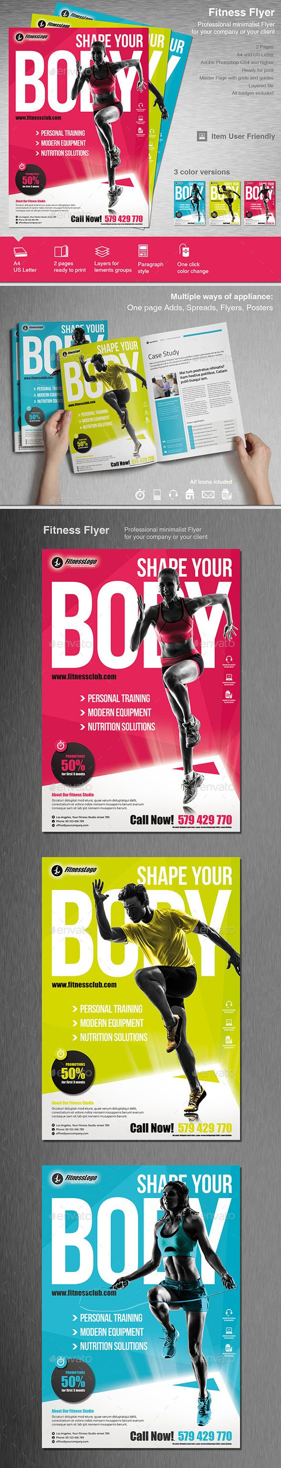 fitness flyer stretching design and events fitness flyer template design graphicriver net item