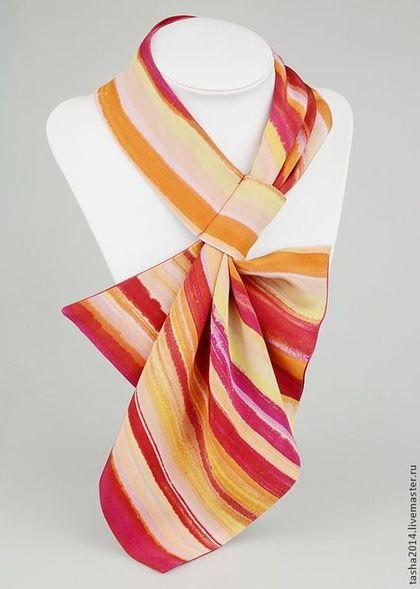 Купить Деловой бант - брусничный, в полоску, платок шелковый, платок батик, платок на шею: