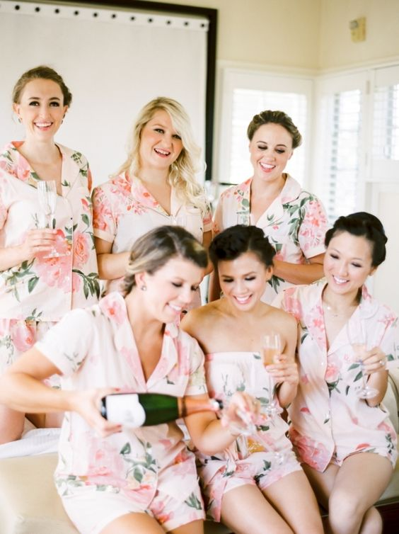 Pre-wedding champagne toasts with the bridesmaids: http://www.stylemepretty.com/2015/12/10/orgnaic-elegant-napa-wedding-at-carneros-inn-part-i/ | Photography: Coco Tran - http://www.cocotran.com/