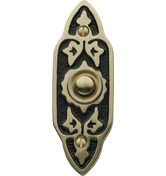 Charming leaf filigree doorbell button.