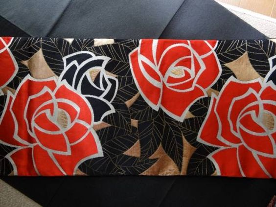 ☆瓢箪雀【アンテ単帯】真っ赤なバラとゴールドブラック葉模様_画像2