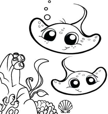 Funny Cartoon Baby Stingray Coloring Page For Kids Cartoon Clip Art Coloring Pages Animal Coloring Pages