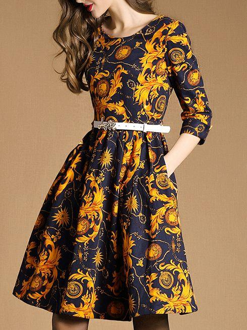 Yellow Round Neck Length Sleeve Drawstring Pockets Print Dress 40.99