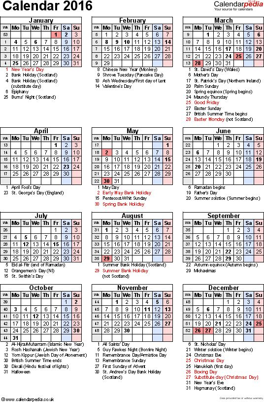 Calendar Monthly Observances : Template yearly calendar as word
