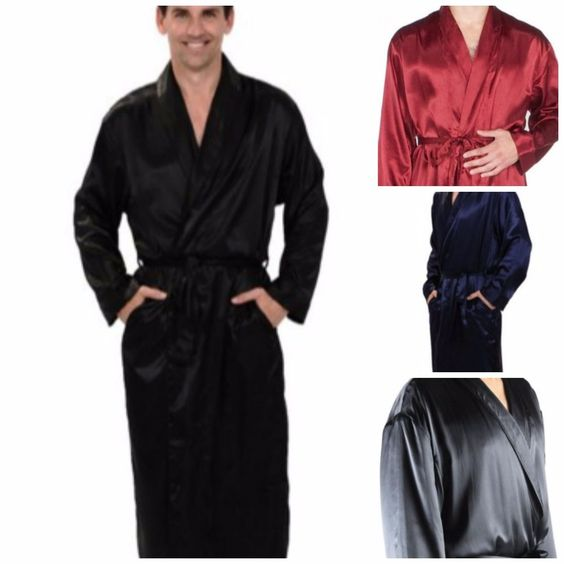 details about men's lightweight satin bathrobe excellent quality