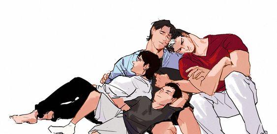 Batboys. Dick Grayson, Jason Todd, Tim Drake, and Damian Wayne.