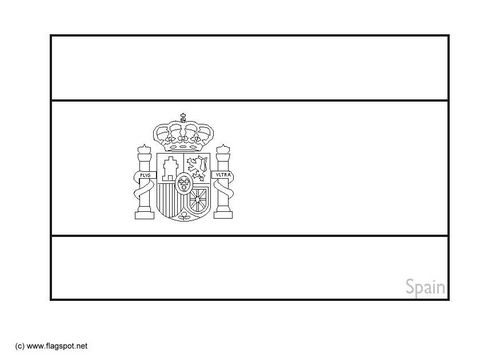 Spain Flag Printable Coloring Page free spanish flag coloring