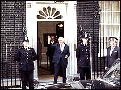 Harold Wilson at Downing Street after the announcement of his resignation 1976