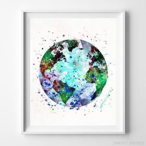 Details About Earth Wall Art Watercolor Poster Home Decor Nursery
