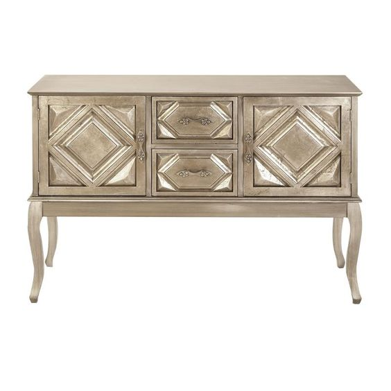 Pewter Colored Wood Console Cabinet
