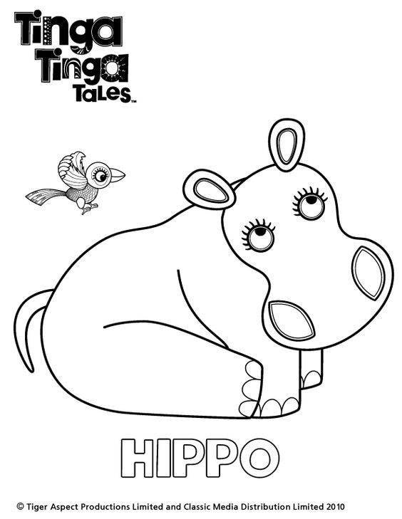 Tinga tinga tales black and white picture of hippo for Tinga tinga coloring pages