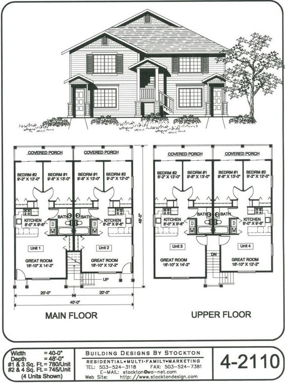 Side door building designs and the other side on pinterest for Fourplex plans with garage