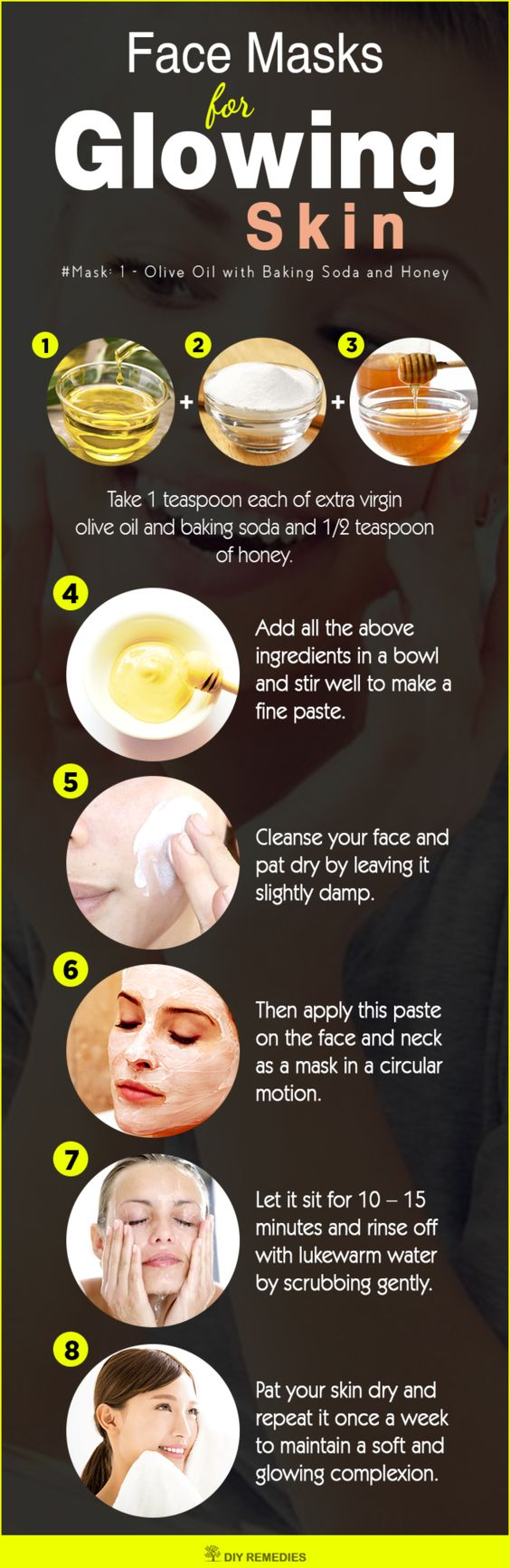 DIY Face Masks for Glowing Skin  This face mask is suitable for all skin types. Olive oil penetrates deep into the skin, moisturizes properly, promotes elasticity and reduces blemishes to get a soft and smooth skin. #DIY #GlowingSkin #Facemasks