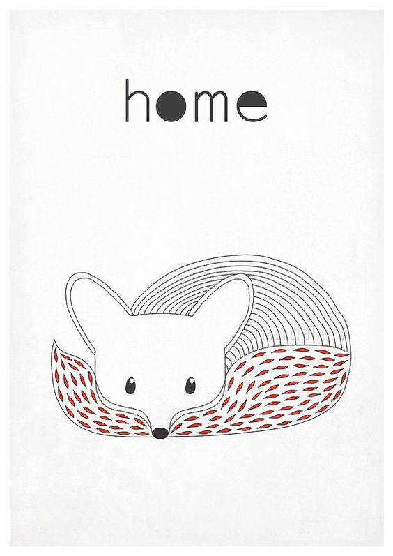 Retro Poster Fox Vixen Waldtiere skandinavischen von EmuDesigns