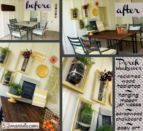 52 Mantels: Reclaimed Wood Tabletop {Plus Porch Makeover!}