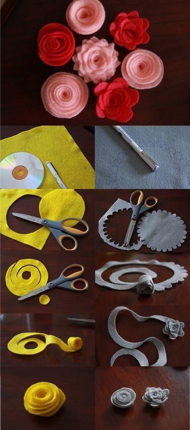 Piccolo DIY per creare con il pannollenci dei fiorellini da applicare qua e la.. carini anche per... pinned with Pinvolve