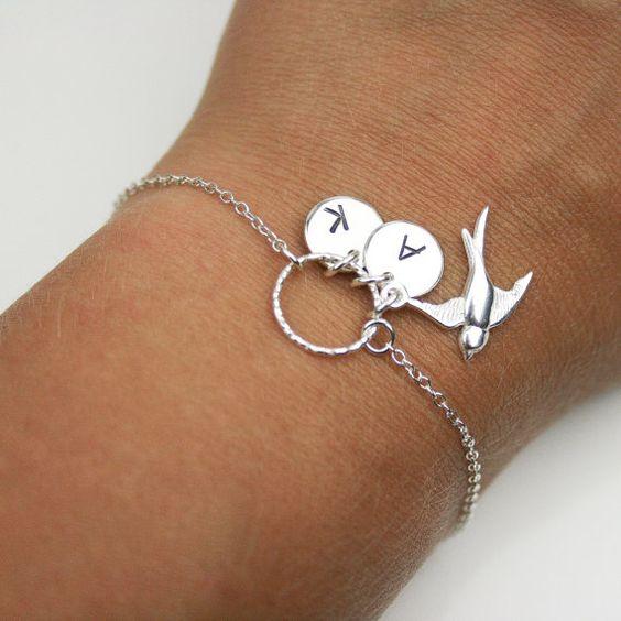 Swallow personalizzata Bracciale in argento - braccialetto personalizzato, cerchio bracciale, braccialetto di Karma