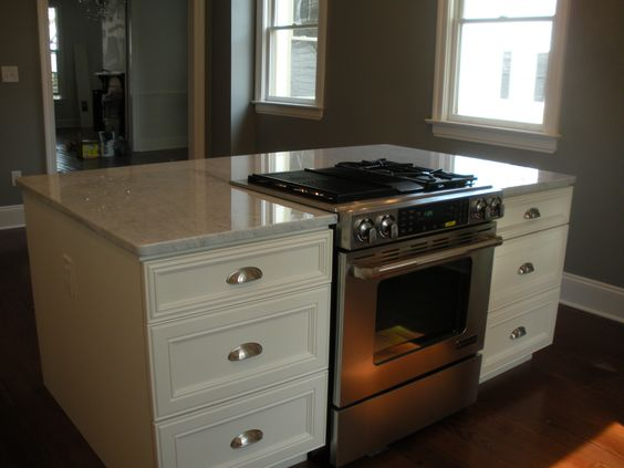 Downdraft drop in stove in island renovating a historic for Kitchen drop zone ideas