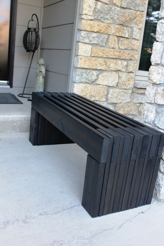 modern slat top outdoor wood bench