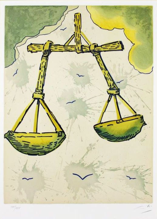 """""""Salvador Dalí Illustrates the Twelve Signs of the Zodiac"""" from Brain Pickings. This is for Libra."""