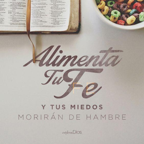 Alimenta tu fe y tus miedos morirán de hambre.  #ExploraDios - ExploraDios.com