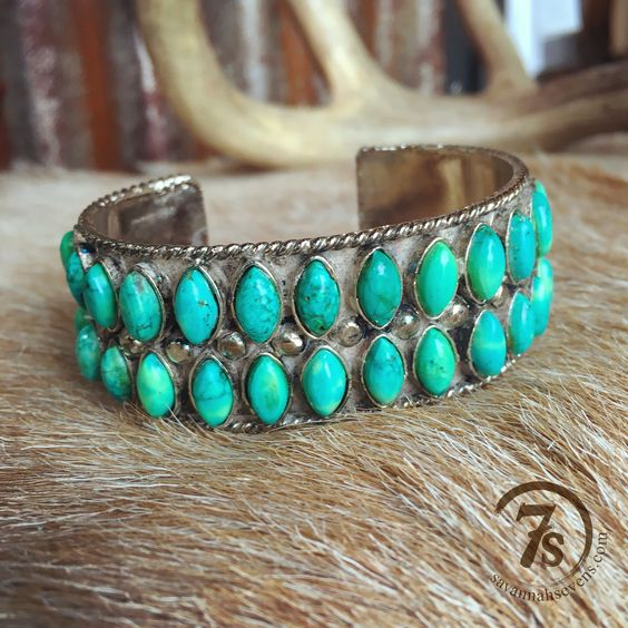 Cheyenne Wells Cuff - turquoise and sterling silver cuff from Savannah Sevens Western Chic